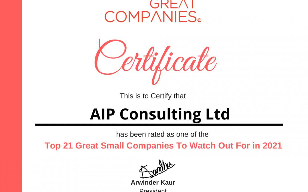 Η AIP Consulting ως μία από τις κορυφαίες 21 επιχειρήσεις που πρέπει να προσέξετε το 2021